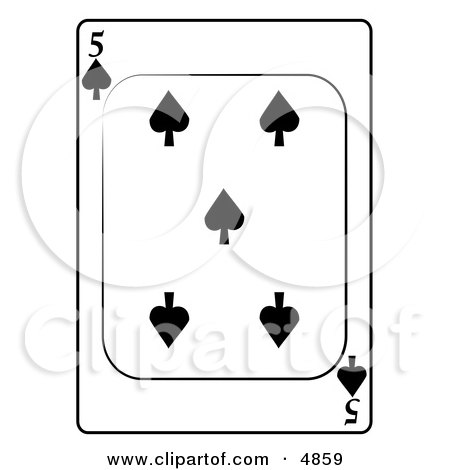 Five/5 of Spades Playing Card Clipart by djart