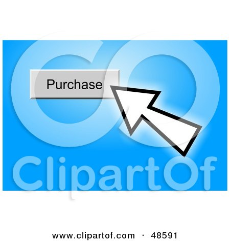 Royalty-Free (RF) Clipart Illustration of a Computer Cursor Clicking On A Purchase Button, On Blue by Prawny