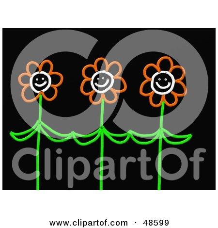 Royalty-Free (RF) Clipart Illustration of Three Happy Orange Stick Flowers by Prawny