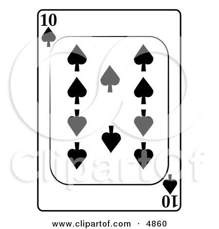 Ten/10 of Spades Playing Card Clipart by djart