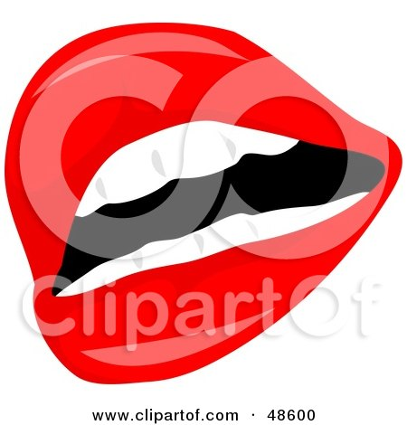 Royalty-Free (RF) Clipart Illustration of a Sexy Female Mouth With Flaming Red Lipstick by Prawny