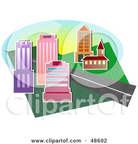 Royalty-Free (RF) Clipart Illustration of a Road Between City Buildings And A Church by Prawny