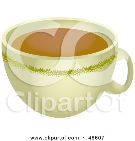Royalty-Free (RF) Clipart Illustration of a Beige Coffee Cup Full of Java by Prawny