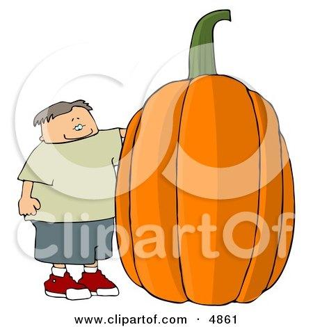 Smiling Boy Standing Beside a Giant Halloween Pumpkin Clipart by djart