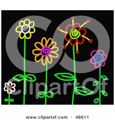 Royalty-Free (RF) Clipart Illustration of Colorful Stick Flowers In A Garden On Black by Prawny