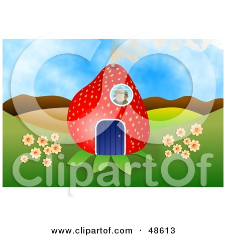 Royalty-Free (RF) Clipart Illustration of a Person In A Strawberry House, Looking Out Through A Window by Prawny