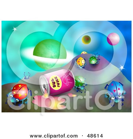 Royalty-Free (RF) Clipart Illustration of a Spilled Can Of Bug Juice With Beetles In Outer Space by Prawny