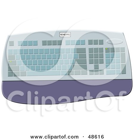 Royalty-Free (RF) Clipart Illustration of a Computer Keyboard With a Wrist Rest by Prawny