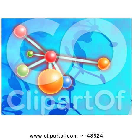 Royalty-Free (RF) Clipart Illustration of a Colorful Molecule on Blue by Prawny