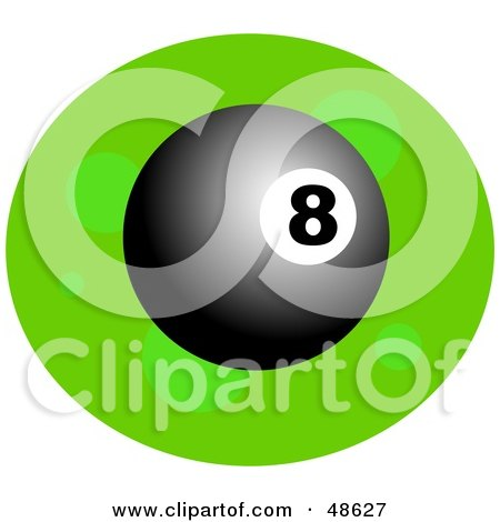 Royalty-Free (RF) Clipart Illustration of a Shiny 8 Ball on Green by Prawny