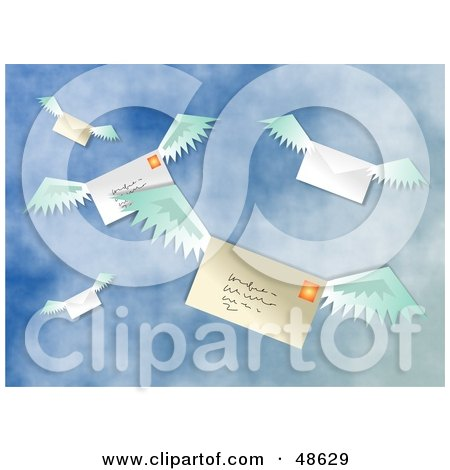 Royalty-Free (RF) Clipart Illustration of a Group Of Flying Envelopes Being Sent By Airmail by Prawny