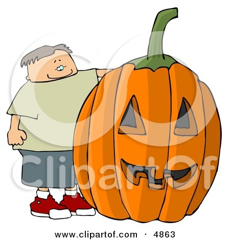 Happy Boy Standing Beside a Big Pumpkin Carved Into a Jack-o'-lantern for Halloween Clipart by djart