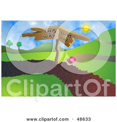 Royalty-Free (RF) Clipart Illustration of a Snail at a Crossroads on a Path by Prawny
