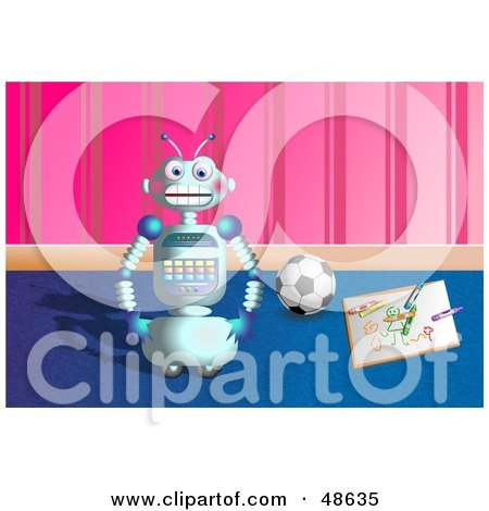 Royalty-Free (RF) Clipart Illustration of a Happy Robot By A Drawing And Soccer Ball In A Play Room by Prawny