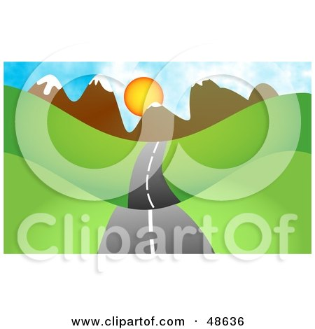 Royalty-Free (RF) Clipart Illustration of a Road Passing Through Hills With A Mountain Sunset In The Distance by Prawny