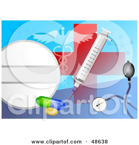 Royalty-Free (RF) Clipart Illustration of a Medical Collage Of A Red Cross, Syringe, Pills, Stethoscope And Caduceus by Prawny