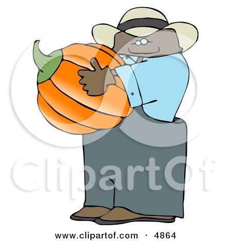 Ethnic Male Farmer Carrying a Pumpkin for Halloween Clipart by djart