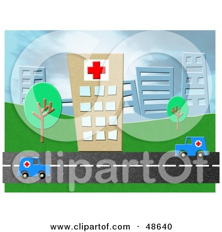 Royalty-Free (RF) Clipart Illustration of Two Ambulances Driving On A Road In Front Of A Hospital by Prawny
