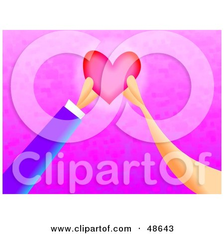 Royalty-Free (RF) Clipart Illustration of Two Hands Mending a Heart by Prawny