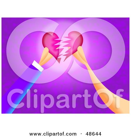 Royalty-Free (RF) Clipart Illustration of Two Hands Breaking Or Fixing A Heart by Prawny