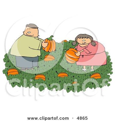 Man & Woman Picking Fresh Pumpkins from a Pumpkin Patch Clipart by djart