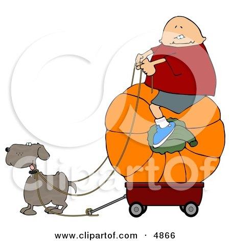 Funny Dog Pulling a Boy On a Big Pumpkin in a Wagon Clipart by djart