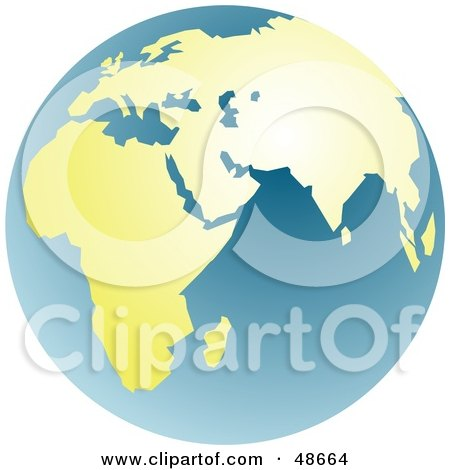 Royalty-Free (RF) Clipart Illustration of a Blue And Golden Globe Featuring Africa And Asia by Prawny