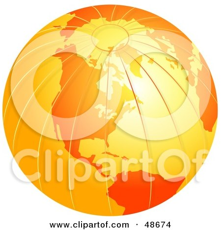 Royalty-Free (RF) Clipart Illustration of an Orange Globe With Textured Lines by Prawny