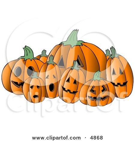 Scary Halloween Pumpkin Carvings Clipart by djart