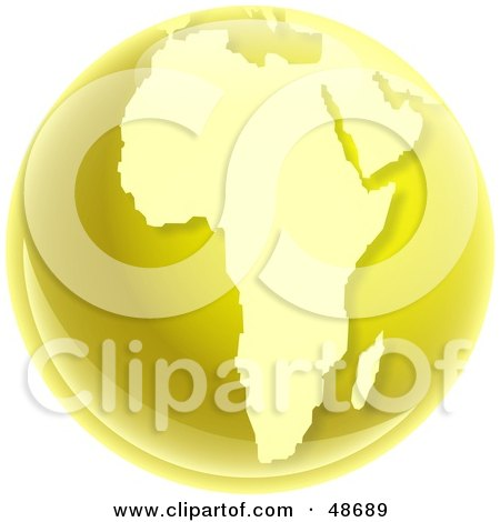 Royalty-Free (RF) Clipart Illustration of a Gold Globe of Africa by Prawny