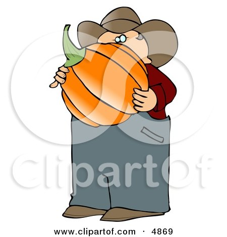 Caucasian Male Farmer Carrying a Freshly Harvested Halloween Pumpkin from His Garden Clipart by djart