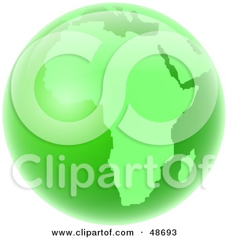 Royalty-Free (RF) Clipart Illustration of a Green Globe of Africa by Prawny