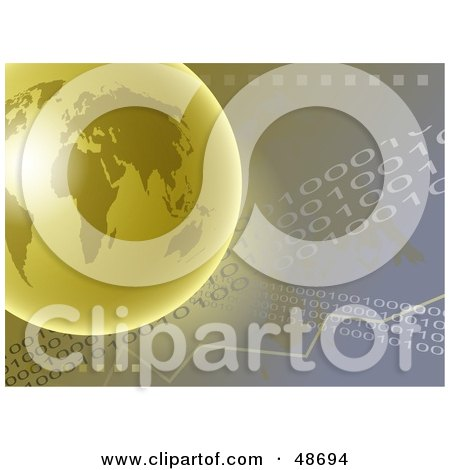 Royalty-Free (RF) Clipart Illustration of a Golden Globe Over a Binary Background by Prawny