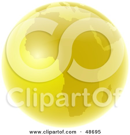 Royalty-Free (RF) Clipart Illustration of a Golden Globe Featuring Africa by Prawny