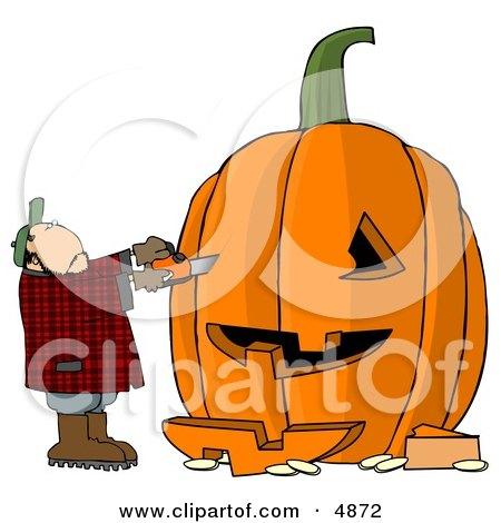 Man Carving a Face Into Big Pumpkin for Halloween Clipart by djart