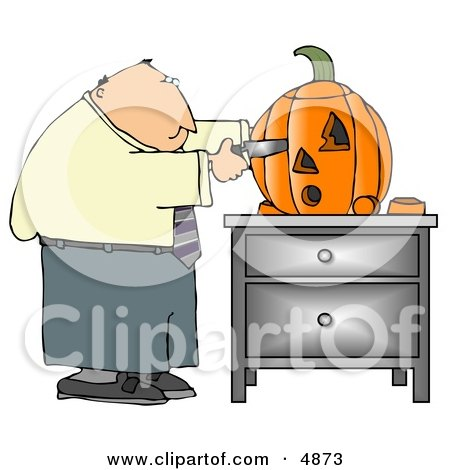Businessman Carving a Halloween Pumpkin with a Knife Clipart by djart