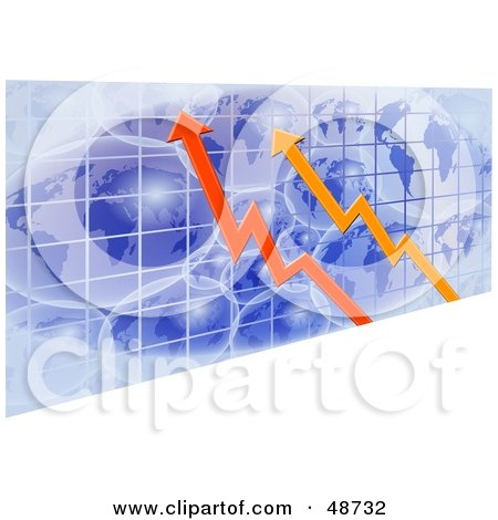 Royalty-Free (RF) Clipart Illustration of Red And Orange Arrows Over Blue Grid Globes by Prawny
