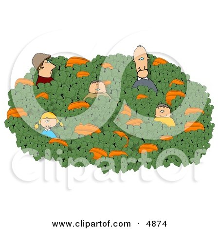 Family Looking for that Perfect Halloween Pumpkin in a Farmer's Pumpkin Patch Clipart by djart