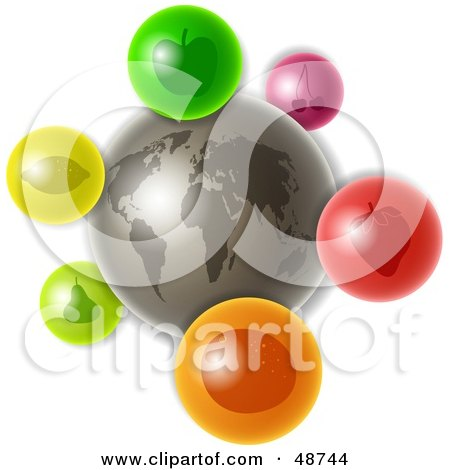 Royalty-Free (RF) Clipart Illustration of a Gray World With Colorful Fruit Icons by Prawny