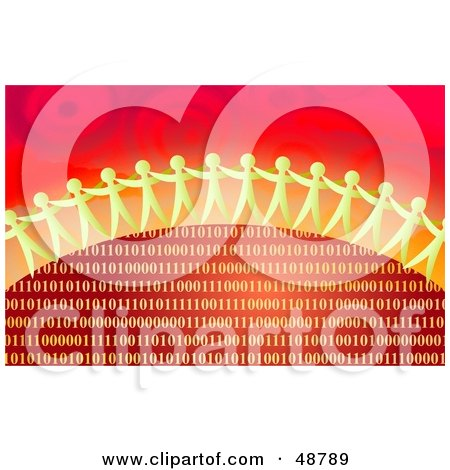 Royalty-Free (RF) Clipart Illustration of Paper People Standing Over An Arch Of Red And Gold Binary Code by Prawny