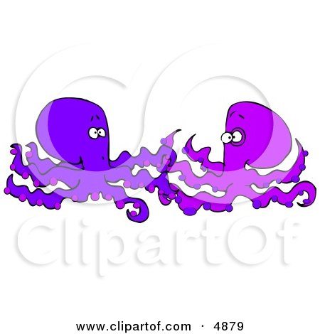 Two Foreign Octopuses Meeting Each Other Clipart by djart