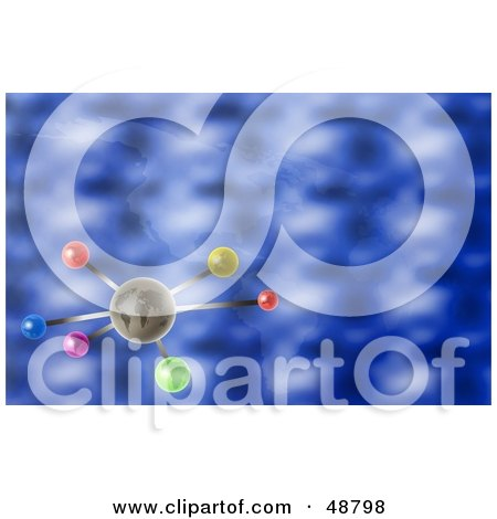 Royalty-Free (RF) Clipart Illustration of an Earth Molecule On A Faint Atlas Blue Background by Prawny