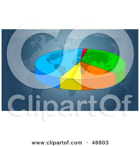 Royalty-Free (RF) Clipart Illustration of a Blue Atlas Background With A Transparent Pie Chart by Prawny