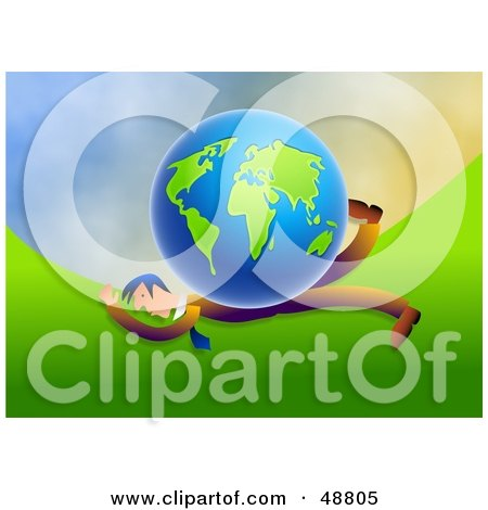 Royalty-Free (RF) Clipart Illustration of a Businessman Being Crushed By A Globe by Prawny