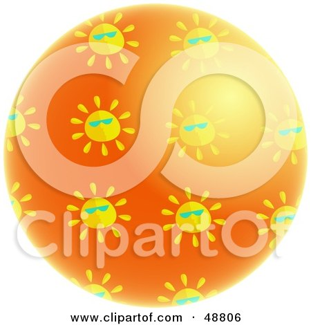 Royalty-Free (RF) Clipart Illustration of a Shiny Orange Planet Surrounded By Suns Wearing Shades by Prawny