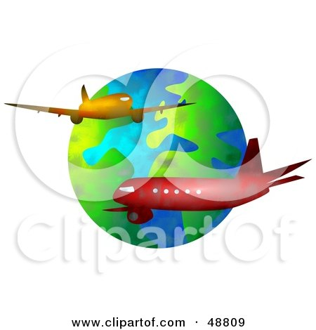 Royalty-Free (RF) Clipart Illustration of Two Airliners Cruising Around Earth by Prawny