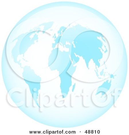 Royalty-Free (RF) Clipart Illustration of a Blue Glass World Globe by Prawny