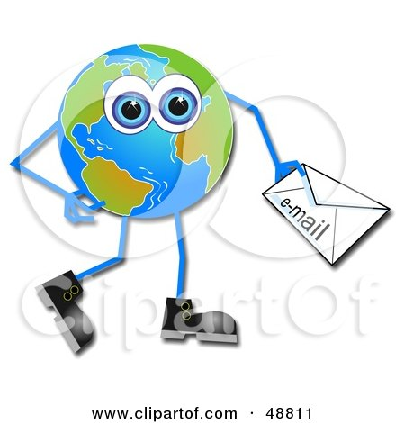 Royalty-Free (RF) Clipart Illustration of a Blue Eyed Globe Man Carrying an Email by Prawny