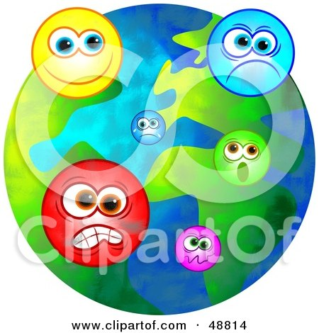 Royalty-Free (RF) Clipart Illustration of an Emotional World With Moody Faces by Prawny