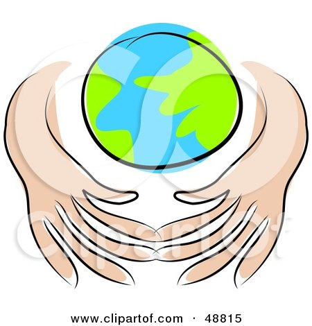 Royalty-Free (RF) Clipart Illustration of Human Hands Shielding Planet Earth From Even More Pollution by Prawny